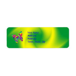 Mariposa del giro del arco iris etiqueta de remite