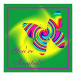 Mariposa del giro del arco iris invitación 13,3 cm x 13,3cm