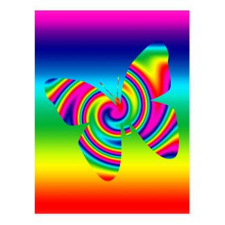 Mariposa del giro del arco iris tarjeta postal