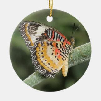 Mariposa del Lacewing del leopardo Adorno Redondo De Cerámica