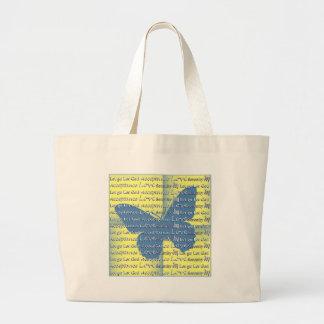 Mariposa del lema bolsa tela grande