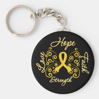 Mariposa del lema de la esperanza de la endometrio llavero redondo tipo pin
