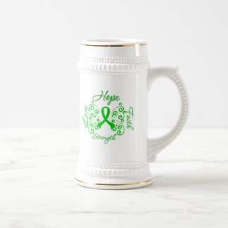 Mariposa del lema de la esperanza de la enfermedad jarra de cerveza