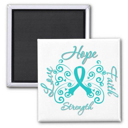 Mariposa del lema de la esperanza del escleroderma imán de frigorifico