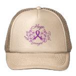 Mariposa del lema de la esperanza del Fibromyalgia Gorros