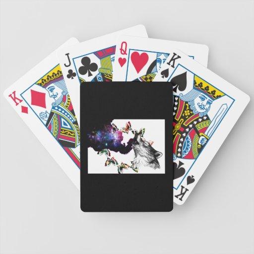 Mariposa del lobo que fuma floral cartas de juego