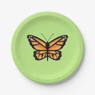 Mariposa del naranja del monarca platos de papel