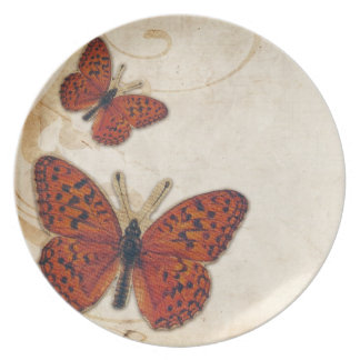 Mariposa del naranja del vintage plato