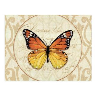Mariposa del naranja del vintage tarjetas postales