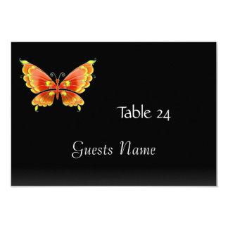 """Mariposa del negro de la tarjeta de la colocación invitación 3.5"""" x 5"""""""