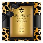 Mariposa del negro del oro del leopardo de Mitzvah Invitacion Personalizada