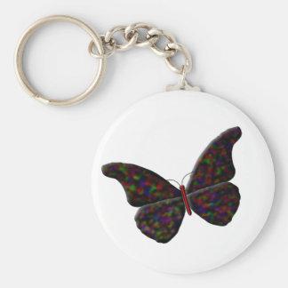 """Mariposa """"del ópalo"""" del negro llavero redondo tipo pin"""