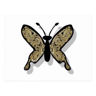 Mariposa del oro de Paisley Postales