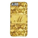 Mariposa del oro del monograma funda de iPhone 6 barely there