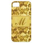Mariposa del oro del monograma iPhone 5 cárcasa
