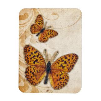 Mariposa del oro del vintage imanes rectangulares