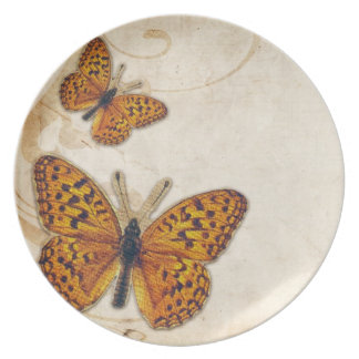 Mariposa del oro del vintage plato