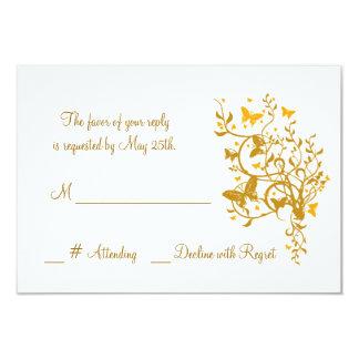 Mariposa del oro que casa la tarjeta de RSVP Invitación 8,9 X 12,7 Cm