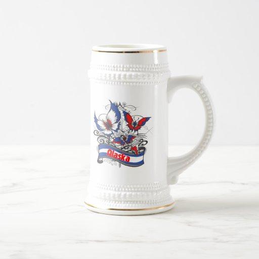 Mariposa del patriotismo de Alaska Jarra De Cerveza