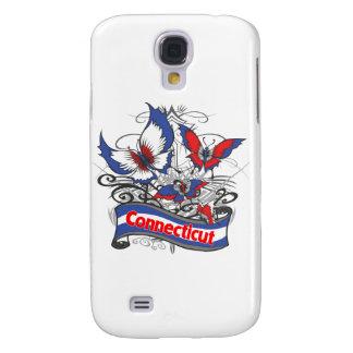 Mariposa del patriotismo de Connecticut Carcasa Para Galaxy S4