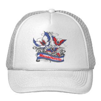 Mariposa del patriotismo de Massachusetts Gorros Bordados