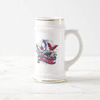 Mariposa del patriotismo de Mississippi Tazas