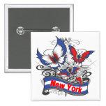 Mariposa del patriotismo de Nueva York Pin