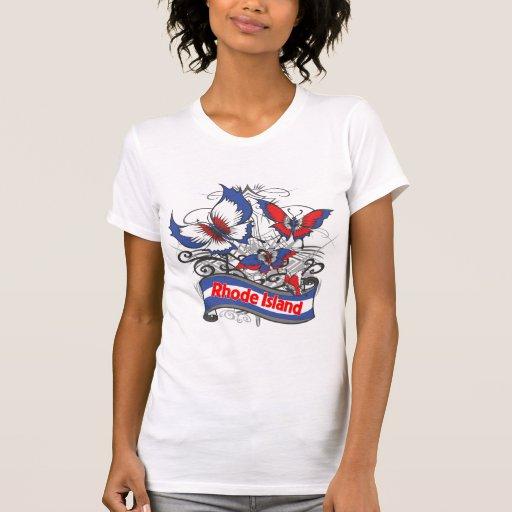 Mariposa del patriotismo de Rhode Island Camisetas