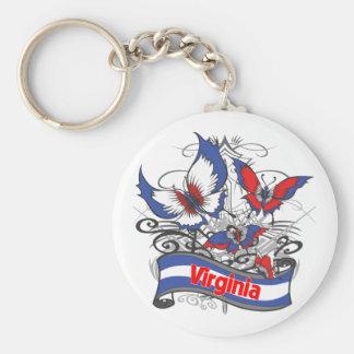 Mariposa del patriotismo de Virginia Llavero Personalizado