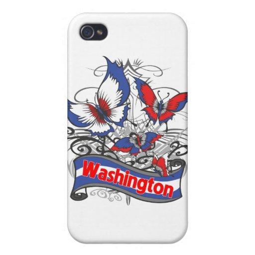 Mariposa del patriotismo de Washington iPhone 4 Carcasa