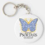 Mariposa del psoriasis llavero redondo tipo pin
