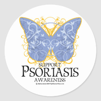 Mariposa del psoriasis pegatina redonda