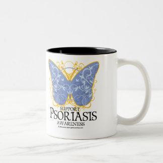 Mariposa del psoriasis taza de dos tonos