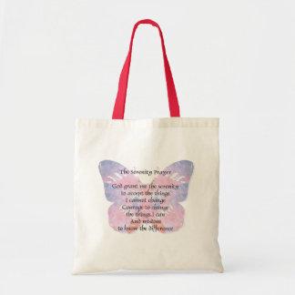 Mariposa del rezo de la serenidad bolsa lienzo