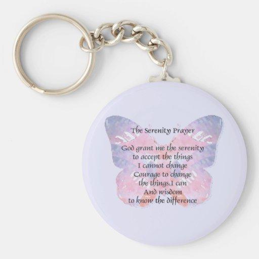 Mariposa del rezo de la serenidad llavero redondo tipo pin