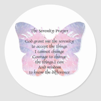 Mariposa del rezo de la serenidad pegatinas redondas