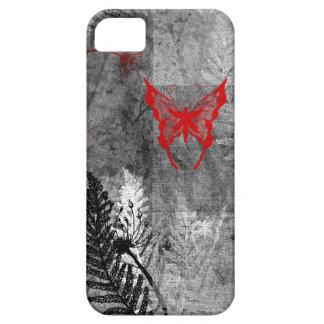 Mariposa del rojo del Grunge Funda Para iPhone 5 Barely There