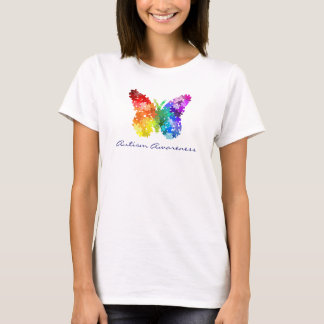 Mariposa del rompecabezas del arco iris de la playera