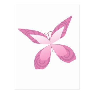 Mariposa del rosa de la conciencia del cáncer de postal