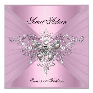 Mariposa del rosa de la fiesta de cumpleaños dieci invitacion personal