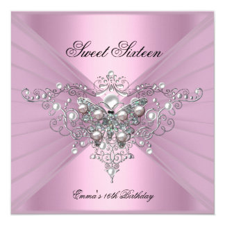 Mariposa del rosa de la fiesta de cumpleaños invitación 13,3 cm x 13,3cm