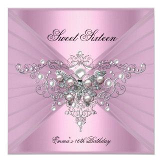 """Mariposa del rosa de la fiesta de cumpleaños invitación 5.25"""" x 5.25"""""""