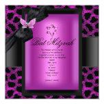 Mariposa del rosa del leopardo de Mitzvah del palo Invitaciones Personalizada