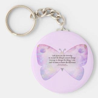 Mariposa del rosa y de la lavanda del rezo de la s llaveros personalizados
