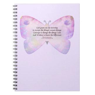 Mariposa del rosa y de la lavanda del rezo de la s spiral notebook