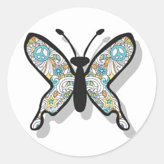 Mariposa del signo de la paz pegatina redonda