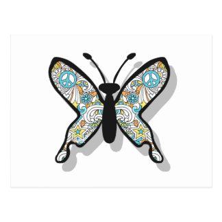 Mariposa del signo de la paz tarjeta postal