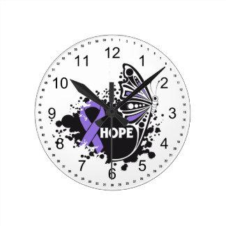 Mariposa del síndrome de Rett de la esperanza Reloj Redondo Mediano