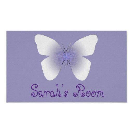 Mariposa del sitio de Sarah, púrpura y blanca Posters