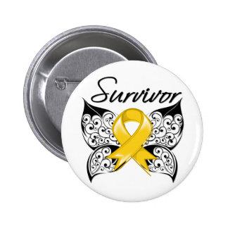 Mariposa del superviviente del cáncer de la niñez pin redondo 5 cm